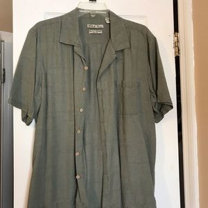 Men's casual shirt - olive green, silk